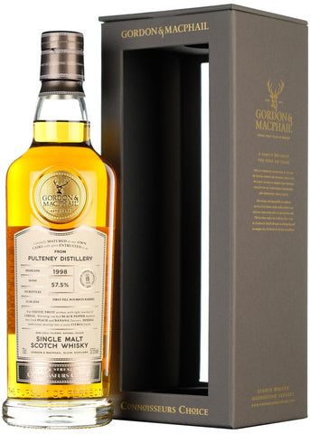 pultney 1998 19 year old connoisseurs choice, cask strength, gordon and macphail highland single malt scotch whisky whiskey