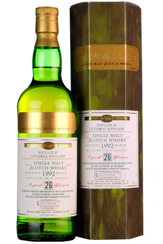1992 littlemill 26 year old single cask old malt cask 20th anniversary hunter laing lowland single malt scotch whisky