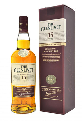 glenlivet, 15, year, old, the, french, oak, reserve, speyside, single, malt, scotch, whisky, whiskey