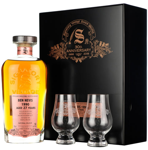 Ben Nevis 1990 27 Year Old - Signatory Vintage 30th Anniversary cask strength single cask highland single malt scotch whisky