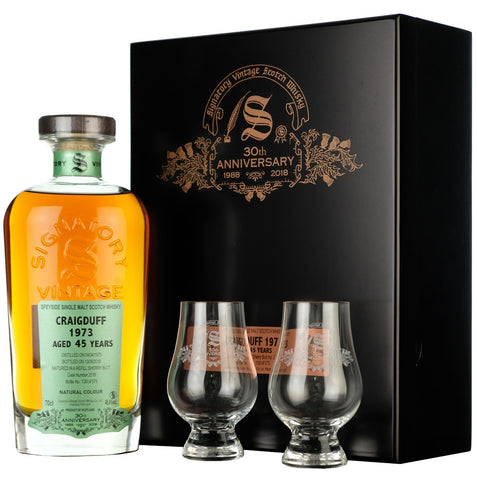 Craigduff 1973 45 Year Old Signatory Vintage 30th Anniversary cask strength single cask speyside single malt scotch whisky