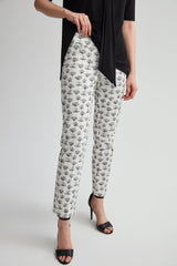 Perfect Fit Slim Leg Floral Outline Print Ankle Pant