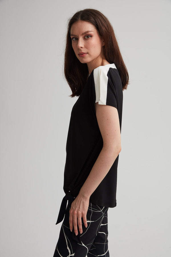 Contrast Trim with Peek-a-Boo Shoulder Top