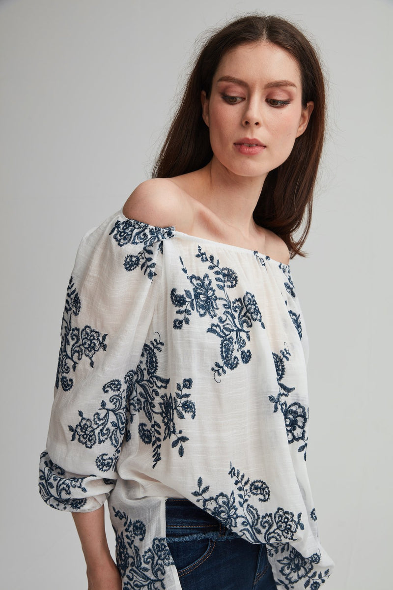 Elastic Shoulder Peasant Blouse