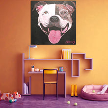 Load image into Gallery viewer, Groover the Staffy in children's bedroom - art by Novis