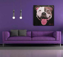 Load image into Gallery viewer, Print of Groover the Staffy on the wall.
