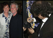 Load image into Gallery viewer, Jimmy Page with artist Barry Novis, and Jimmy Page signing his portrait