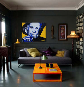 Keith Richards portrait in funky room