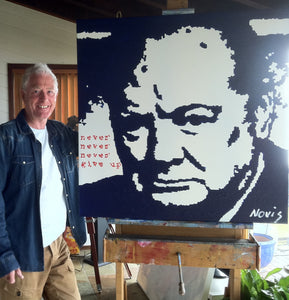 Artist Barry Novis with one of his Winston Churchill portraits.