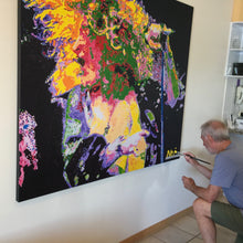 Load image into Gallery viewer, Artist Barry Novis hand-finishing his Robert Plant art print
