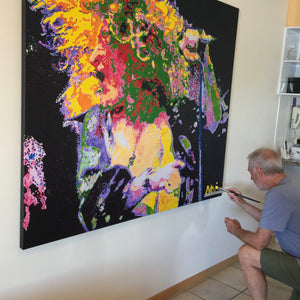 Artist Barry Novis hand-finishing his Robert Plant art print