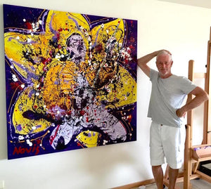 Artist Barry Novis with his Freddie Mercury painting