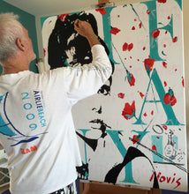 Load image into Gallery viewer, Artist Barry Novis painting Audrey Hepburn