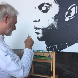 Artist Barry Novis painting Prince
