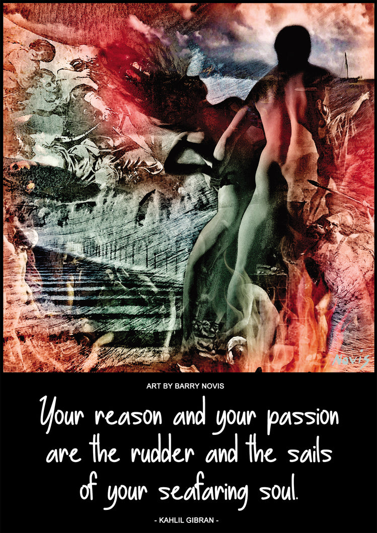 Kahlil Gibran poster on Reason & Passion with art by Novis