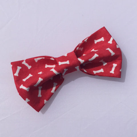red with white bones dog bow tie front