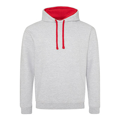 Varsity Contrast Hoodie - Heather Grey / Fire Red - Equipment Zone Online Store