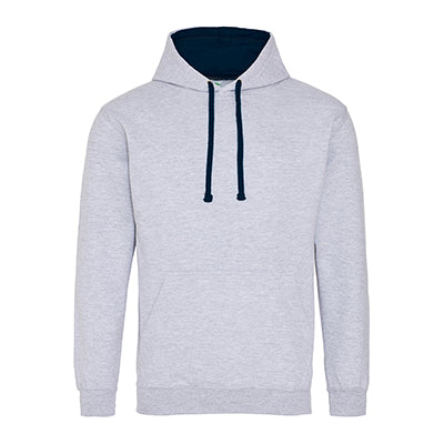 Varsity Contrast Hoodie - Heather Grey / French Navy