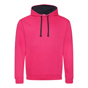 Varsity Contrast Hoodie - Hot Pink / French Navy
