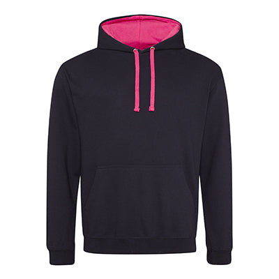 Varsity Contrast Hoodie - Jet Black / Hot Pink - Equipment Zone Online Store