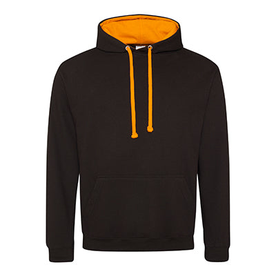 Varsity Contrast Hoodie - Jet Black / Orange Crush - Equipment Zone Online Store
