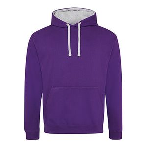 Varsity Contrast Hoodie - Purple / Heather Grey