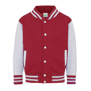 Youth Letterman - Fire Red/Heather Grey