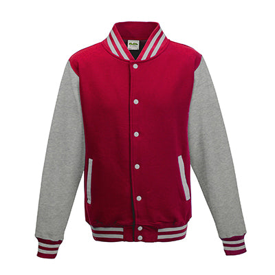 Adult Letterman - Fire Red/Heather Grey