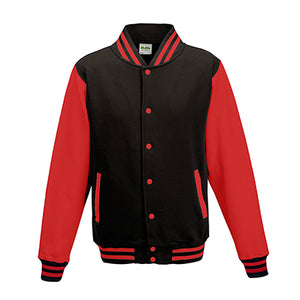 Adult Letterman - Jet Black/Fire Red