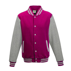 Adult Letterman - Hot Pink/Heather Grey