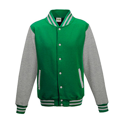 Adult Letterman - Kelly Green/Heather Grey
