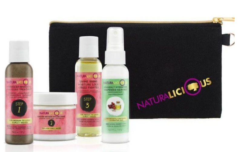NATURALICIOUS Deluxe Travel Set with Custom Clutch