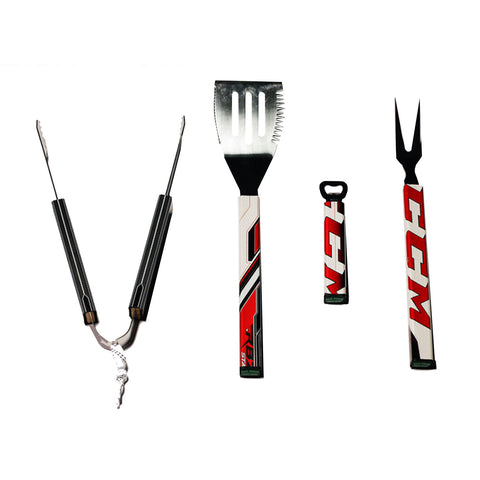 4 Piece BBQ Set  BBQ Set - Requip'd formerly Hat Trick BBQ - Made from hockey sticks and hockey gear - perfect gifts for hockey fans