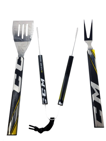 3 piece BBQ Set  BBQ Set - Requip'd formerly Hat Trick BBQ - Made from hockey sticks and hockey gear - perfect gifts for hockey fans