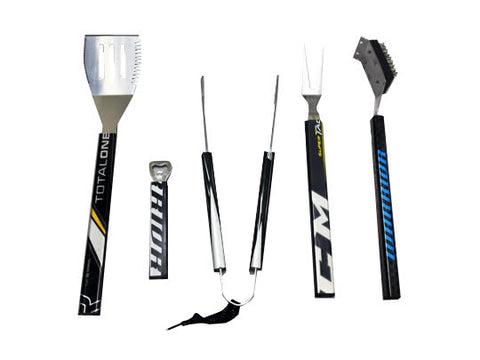 Mixed 5 piece BBQ Set  BBQ Set - Requip'd formerly Hat Trick BBQ - Made from hockey sticks and hockey gear - perfect gifts for hockey fans