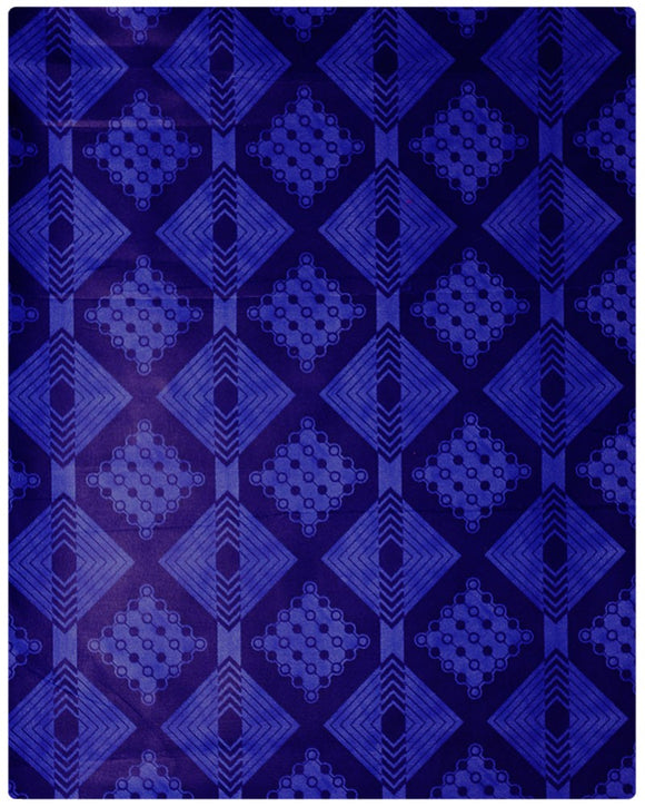 BRO013 - Printed Brocade - Navy Blue ( 5 Yards)