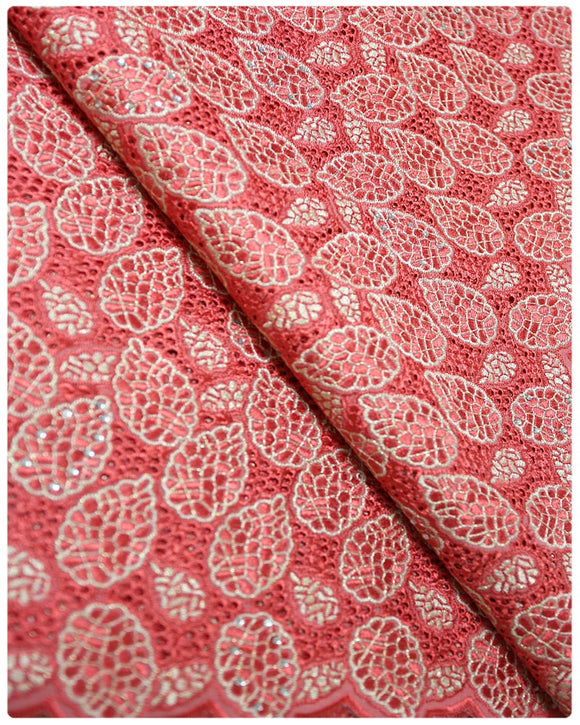 CTV002 - Cotton Voile - Coral & Gold