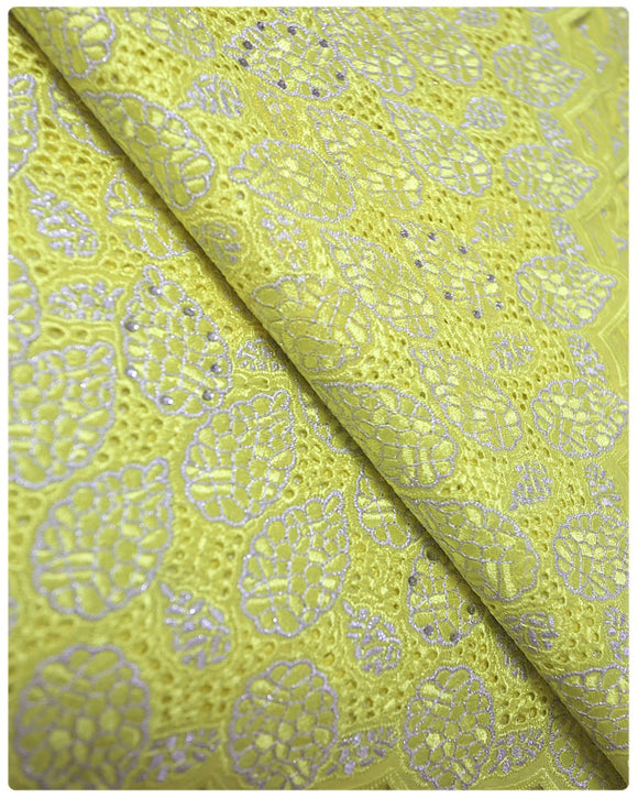 CTV002 - Cotton Voile - Yellow & Silver