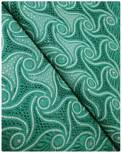 CTV004 - Cotton Voile -  Teal Green & White