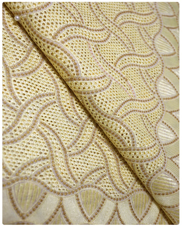 CTV005 - Cotton Voile -  Beige & Gold