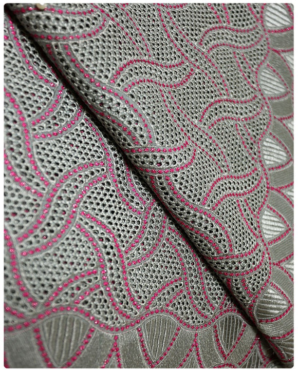 CTV005 - Cotton Voile -  Grey Fuchsia Pink