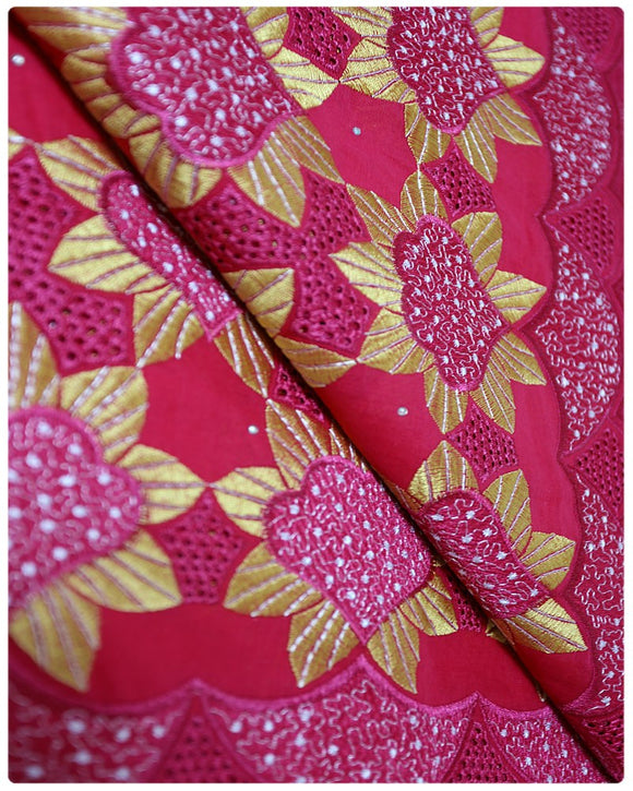 CTV007 - Cotton Voile - Fuchsia Pink & Gold