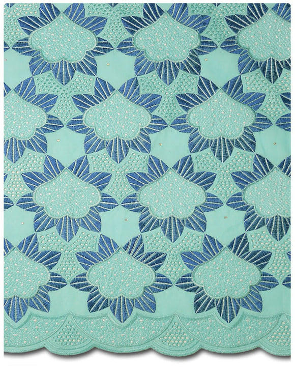 CTV007 - Cotton Voile - Mint & Royal Blue