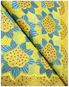 CTV007 - Cotton Voile - Yellow & Turqouise