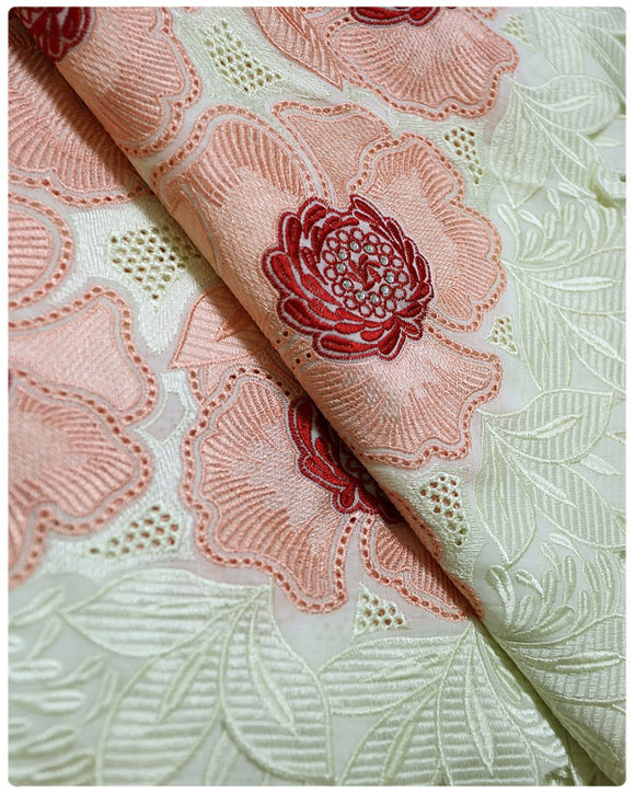 CTV011 - Cotton Voile - Cream & Peach