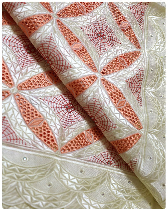 CTV012 - Cotton Voile - Cream & Peach