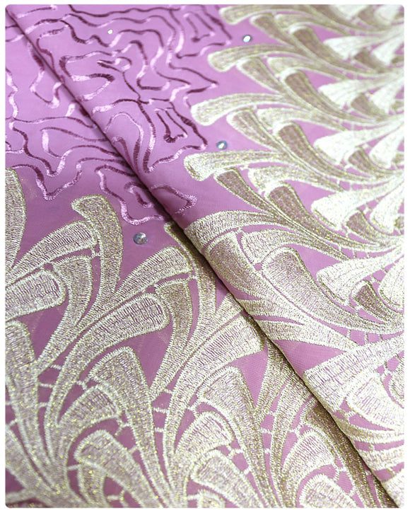 CTV018 - Cotton Voile - Lilac & Gold