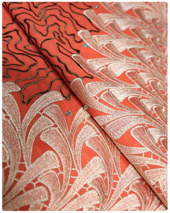 CTV018 - Cotton Voile - Orange & Gold