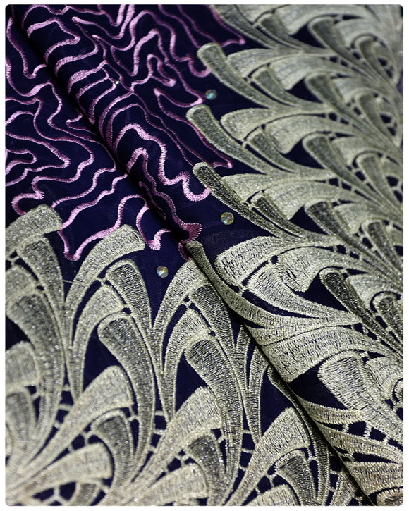 CTV018 - Cotton Voile - Purple, Lilac & Gold