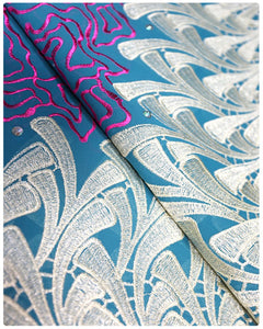 CTV018 - Cotton Voile - Teal Blue, Fuchsia Pink & Gold